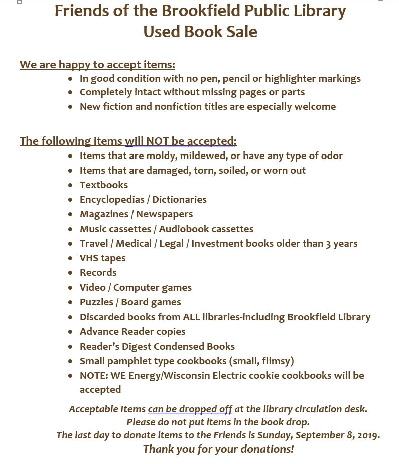 2019 Book Sale Donation Guidelines